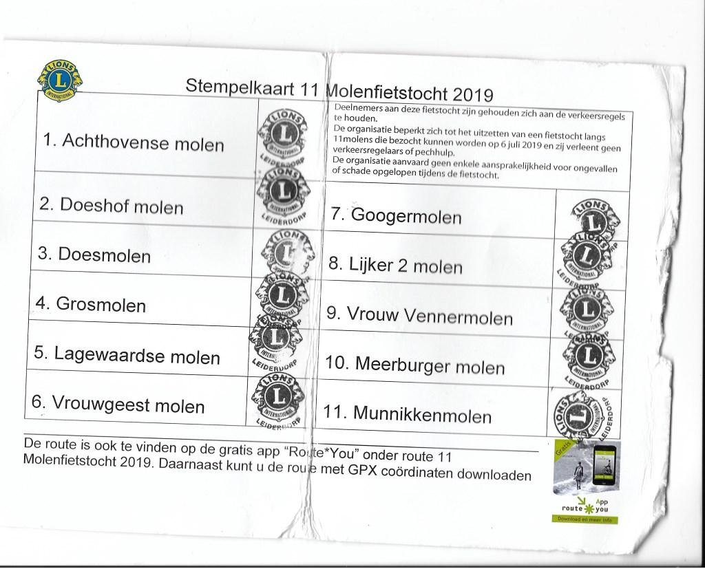 Alle elf molens bezocht, de stempelkaart is vol! Foto: Corrie van der Laan © uitgeverij Verhagen