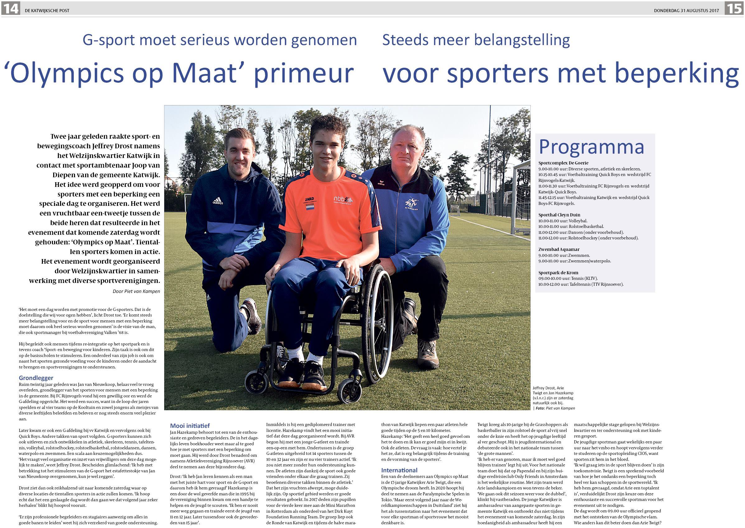 De Katwijksche Post 31 augustus 2017