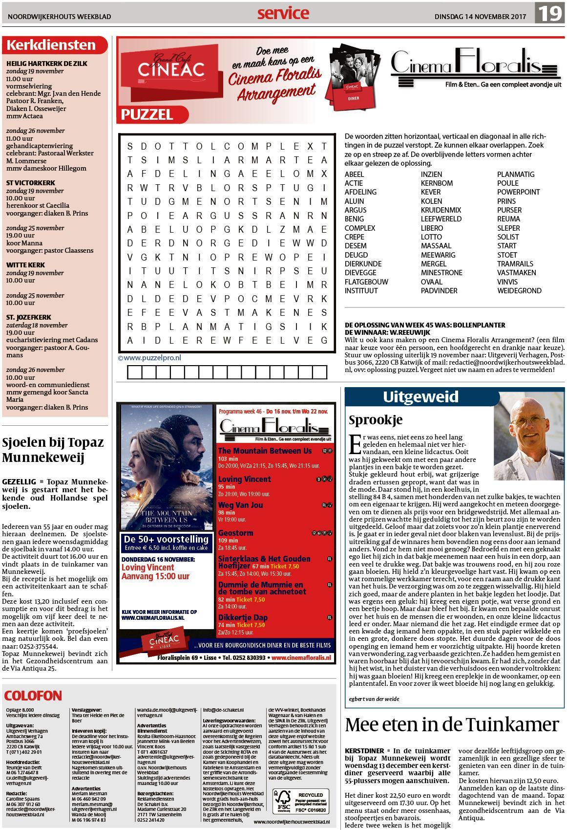 6916a9aad4a Noordwijkerhouts Weekblad 14 november 2017