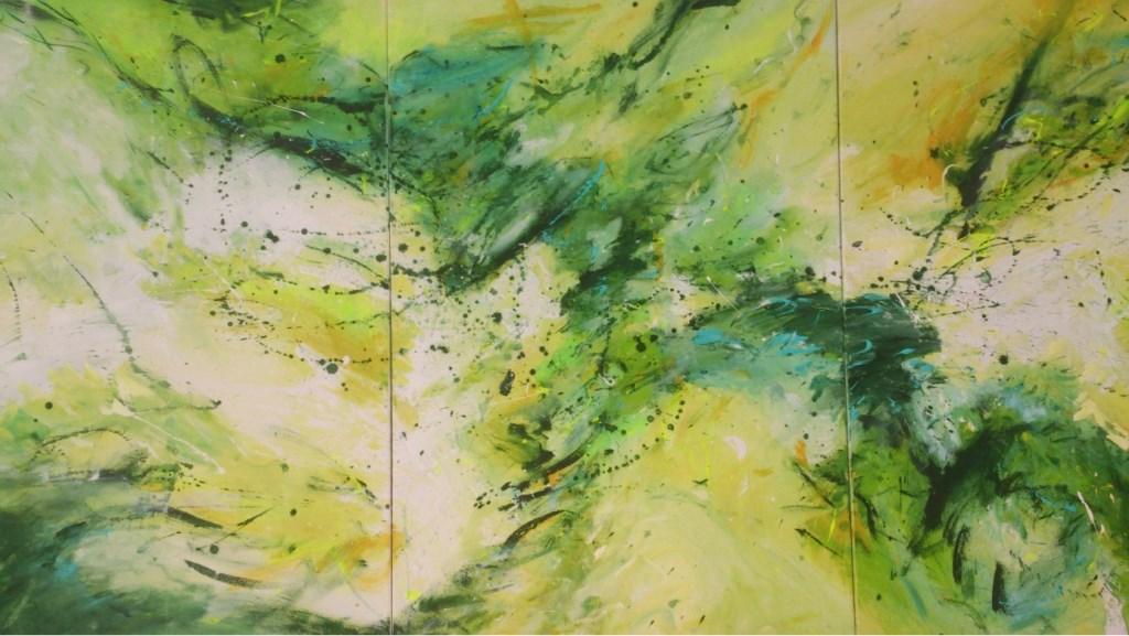 Acrylschilderij op doek drieluik, 3 x 75 x 110 cm n.a.v. kroos en pompeblêden foto's  © Rondom Heerenveen