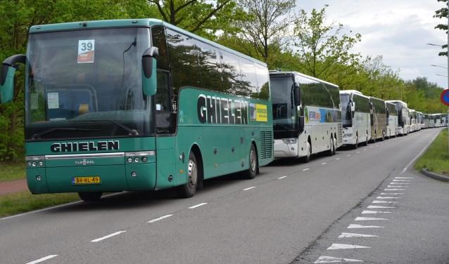 Veel bussen moesten nu elders parkeren