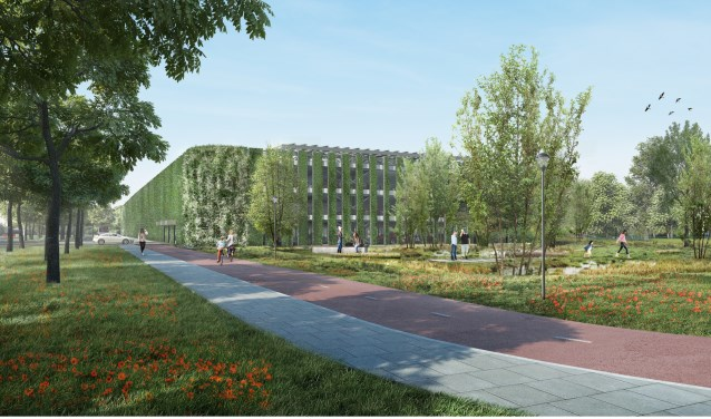 Een impressie van het nieuwe transferium, naar een ontwerp van JHK architecten