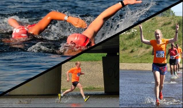 Bij een zwemloop leggen atleten eerst een deel van het parcours zwemmend af waarna ze hardlopend verder gaanFoto: Jos Dinkelberg/ Atletiekvereniging Prins Hendrik