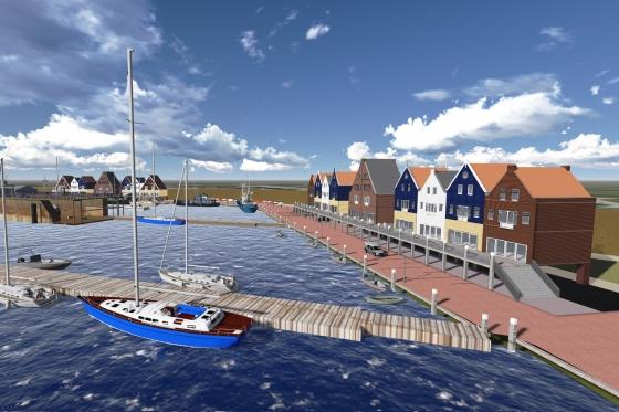 Impressie van de haven van Oudeschild, met onder meer huisjes, een pakhuis annex watersportwinkel, een markt, een zeilschool voor zeekadetten en een wandelpromenade.  Bron: Architectenburo Uriot.