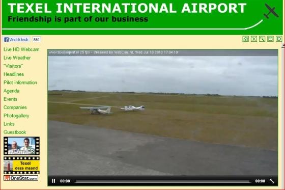 Beeld van de website van vliegveld Texel.