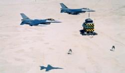 Straaljagers in actie boven de Vliehors. (Foto Koninklijke Luchtmacht)