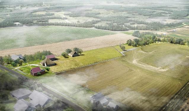 Impressie van hoe het terrein van wijlen Ide Kok er volgens de plannenmakers uit moet komen te zien in de toekomst.