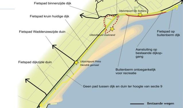Schets van de zanddijk bij de Prins Hendrikpolder.