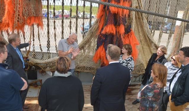Maarten Drijver, voorzitter van VisNed, sprak in juli van dit jaar politici toe op de haven.