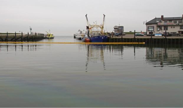 Olieverontreiniging in de haven van Oudeschild.  (Foto Justin Sinner Pictures)
