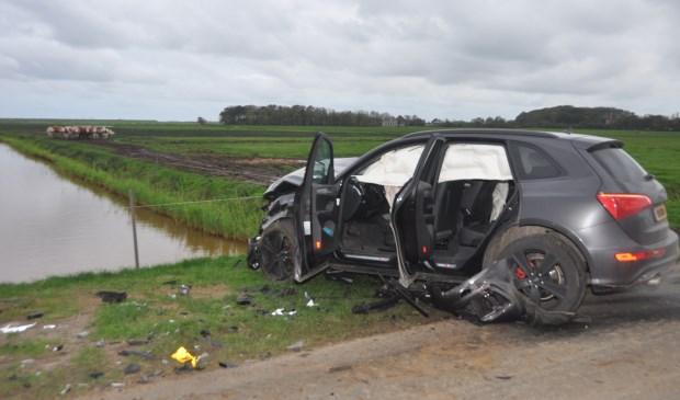 De auto waar de drie bewoners van Den Burg in zaten.