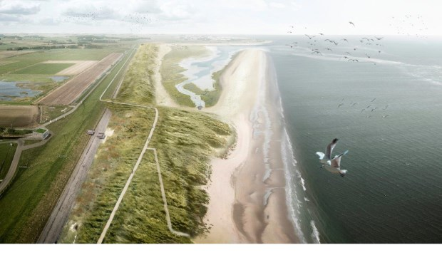 Visualisatie van de zanddijk bij de PH-polder.