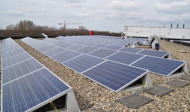 Gebruik van zonnepanelen op bedrijfsdaken.