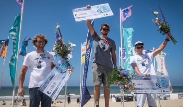 De nummers 1,2 en 3 van het WK Slalom Windsurfen