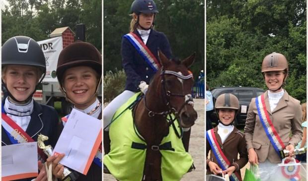 De vijf Texelse ruiters die regio-kampioen zijn geworden.