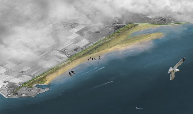 Impressie van de zanddijk die bij de PH-polder moet ontstaan.