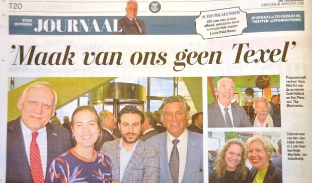 De pagina van het Stan Huygens Journaal in de Telegraaf.
