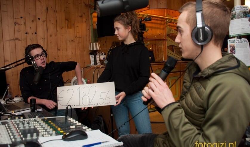 DJ's Aron Zeeman en Sil van Heerwaarden, terwijl de tussenstand van de actie voor Support Rob wordt getoond.  Foto Gerrit Verhoeven