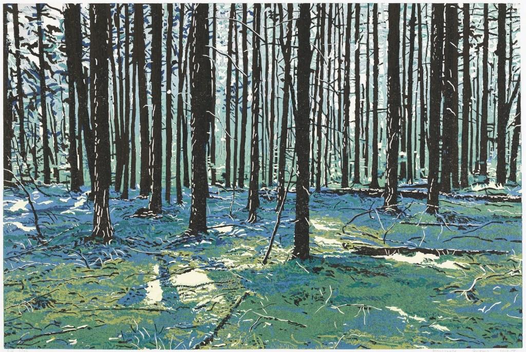 Grietje Postma: Landschap (houtsnede) in Galerie Posthuys Foto: S Veldema © Mediabureau Langeveld & De Rooy