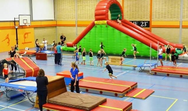 Tijdens het jaarlijkse Springfestijn in sporthal Ons Genoegen kan de jeugd zich uitleven op diverse spring- en klimtoestellen.