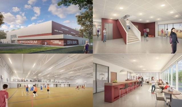 Artist impression van AGS Architects van de nieuwe sporthal.