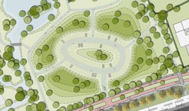 Uitsnede van de huidige ijsbaan uit het plan voor herinrichting van de openbare ruimte van Den Burgt-Zuid. Het is ingetekend als parkeerterrein in een parkachtige omgeving.