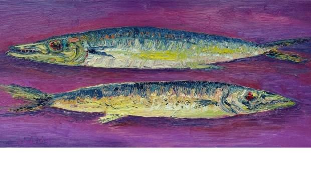 Gertjan Scholte-Albers: Barracuda paar (olieverf op doek 40 x 100 cm) in Galerie Posthuys