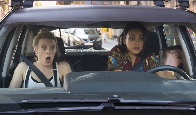 "Kate McKinnon as ""Morgan"" and Mila Kunis as ""Aubrey"" in The spy who dumped me"
