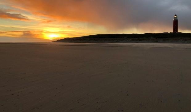 Het strand bij de vuurtoren vanochtend.
