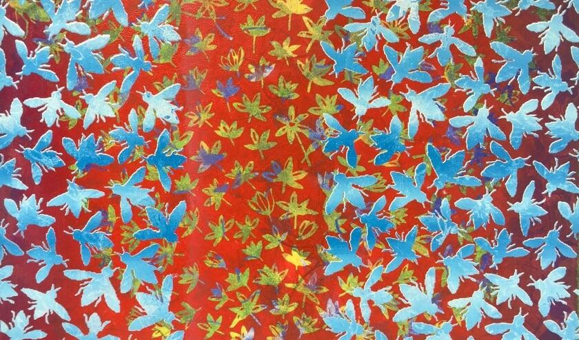 Maurice Christo van Meijel: Bloemen en bijen (2019) monoprint in Galerie Posthuys