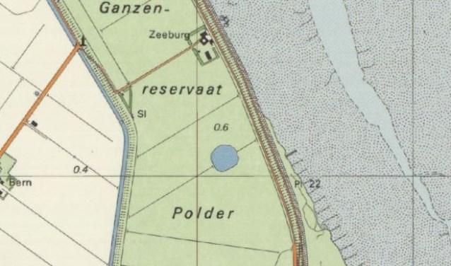 Uitsnede van de kaart van Texel, waarop de plas is te zien.