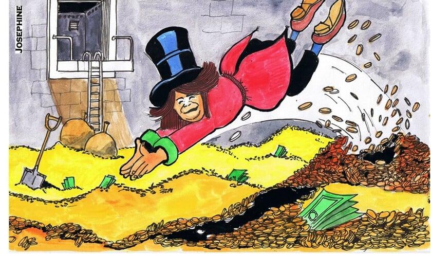 Cartoon over Hennie Huisman in 2015. Tegenwoordig is zij onder meer wethouder van financiën.