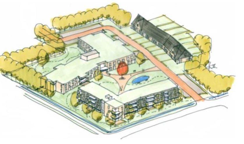 Impressie van de nieuwe wooncomplexen op het Landje van Pelgrim.