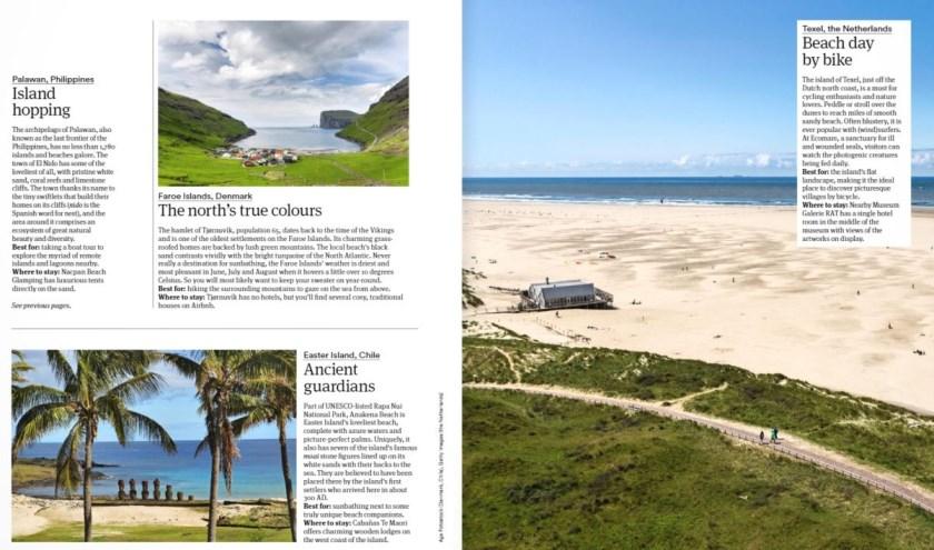 Het KLM-magazine Holland Herald met rechts de aanbeveling van Texel.