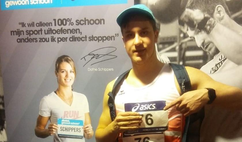 Jarin van der Kooi, zesde op het NK bij kogelstoten.