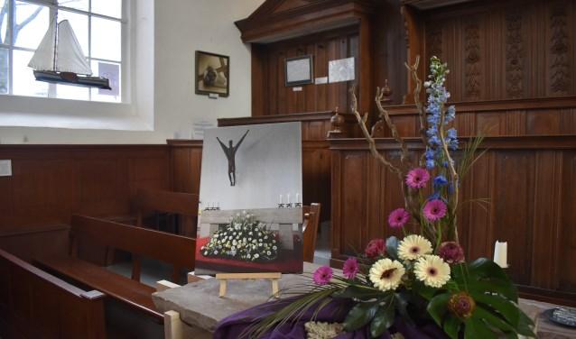 Eén van de vijftien kerkstatie-kunstwerken in de Grote Kerk vanDrachten, te bekijken op diverse zaterdagen in maart en april.
