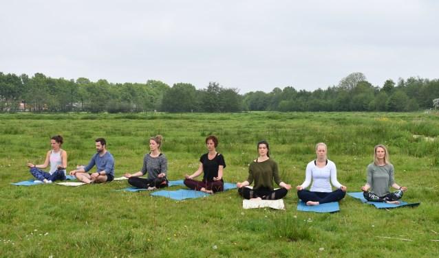 Yn balâns yoga onder leiding van Anne van der Vaart (derde van rechts): komende zaterdag bij de Buitenplaats in Earnewâld (10 - 11 en 17 - 18 uur).