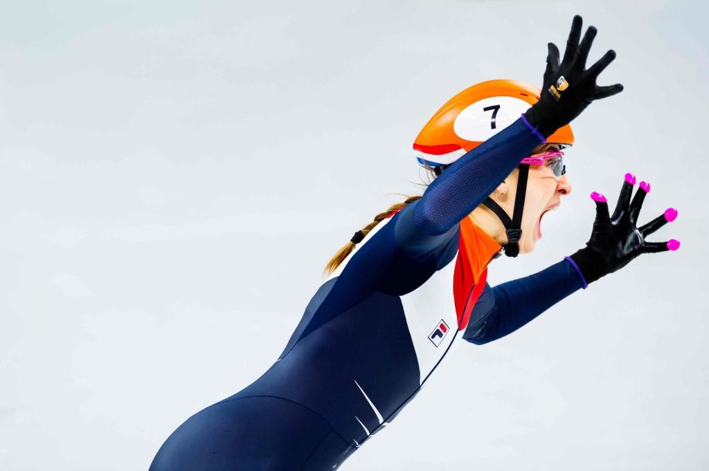 Suzanne Schulting schreeuwt het uit na haar finish op de 1000 meter shorttrack tijdens de Olympische Winterspelen in PyeongChang. Zij wint het eerste shorttrack goud in de Nederlandse geschiedenis. Foto: Stephan Tellier © NNP