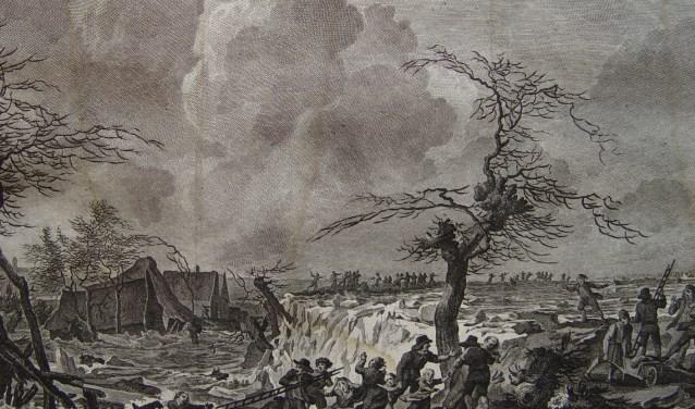 Doorbraak van de Waaldijk bij Doornik-Bemmel in 1799 (foto: Historische Kring Bemmel)