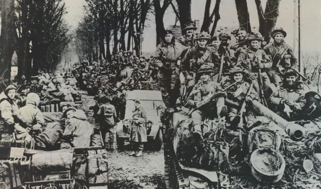 Britse en Canadese troepen op weg van Nijmegen naar Kranenburg. (foto: Archief Nationaal Bevrijdingsmuseum)