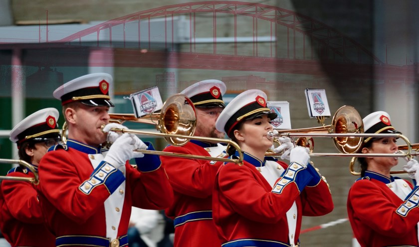Muzikanten Marchingband Arnhem. (foto: P. Reinders)