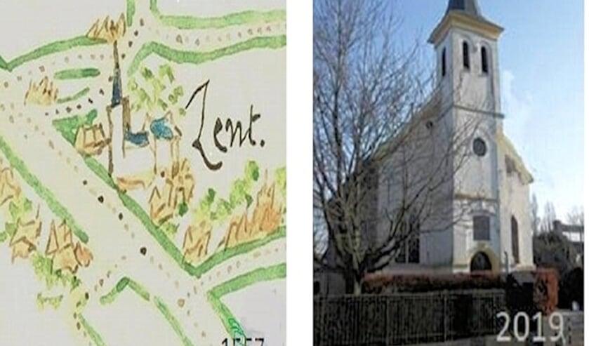 Kerkje 1557 en 2018. (foto: Geertjan Reuser, Lent)