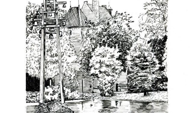 Het carillon bij De Kinkelenburg. (Tekenaar: Joop Verburg)