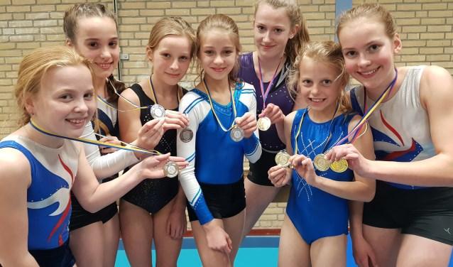 Alle medaillewinnaars van de plaatsingswedstrijd 5e divisie. (foto: GV Elistha)