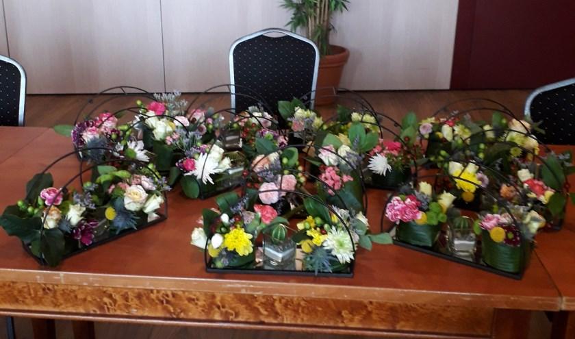 Resultaat workshop bloemschikken De Zonnebloem. (foto: Marjoke Croque)